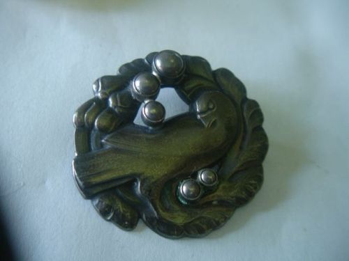 Georg Jensen Sterling  Denmark Dove Silver Pearls Brooch # 165