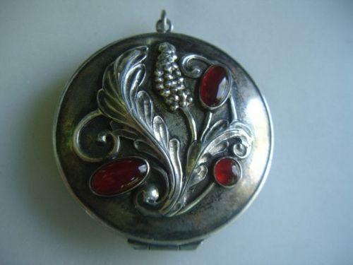 Large Arts & Crafts Potter Mellen Sterling Silver Locket Carnelian