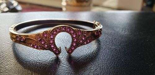 Victorian 9k Rose Gold Ruby Horseshoe Bracelet 17grams