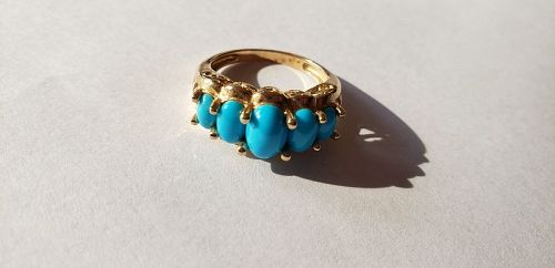Vintage 10k Gold Persian Turquoise Gold Ring 3.4g Size 6