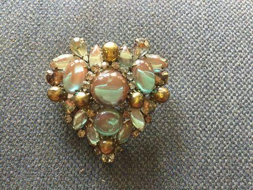 Vintage Large Kramer Saphiret Heart Brooch