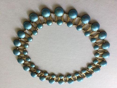 Norway Sterling Enamel Modernist Aksel Holmsen Blue Collar Necklace