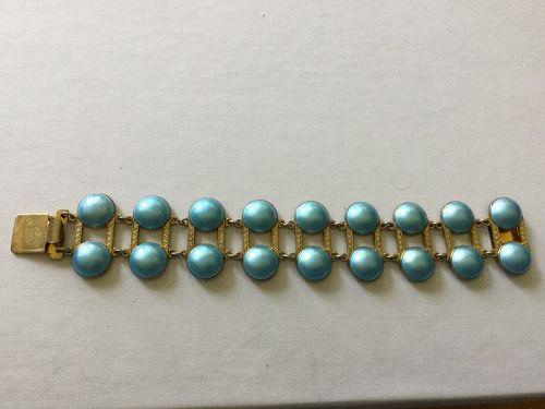 Vintage Norway Aksel Holgren Sterling Enamel Modernist Bracelet