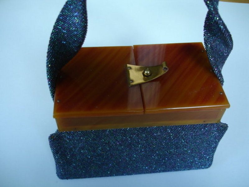 Beaded Box LUCITE PURSE