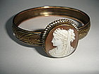 Victorian Shell Cameo Bangle Bracelet
