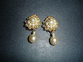 Miriam Haskell Baroque Pearl Drop Earrings