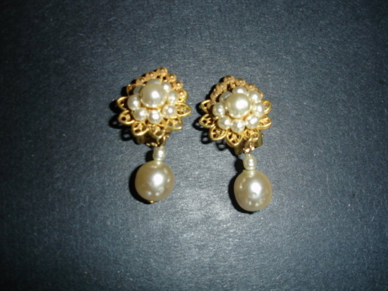 Miriam Haskell Baroque Pearl Drop Earrings