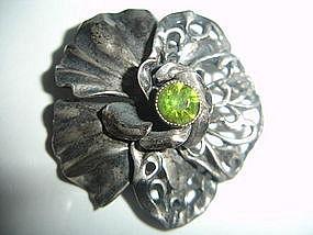 Hobe Sterling Silver Art Nouveau Brooch w/Stone