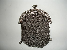 Victorian Sterling Silver Mesh Purse Chatelaine Loop