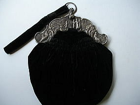 Antique Purse Ornate Sterling Silver Figural Frame