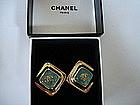 CHANEL Blue Gripoix Glass Logo Earrings