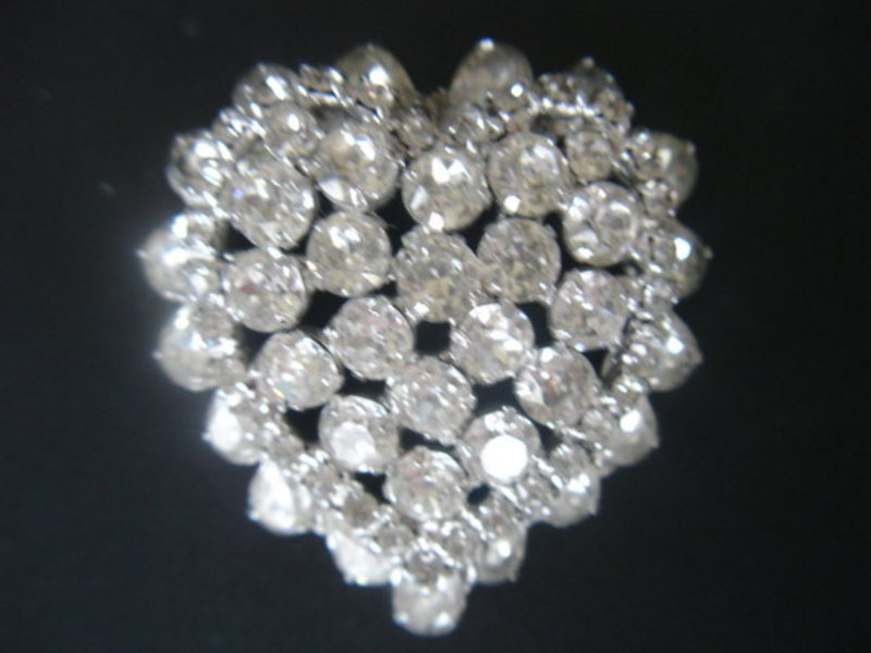 Kramer of New York Rhinestone HEART Brooch
