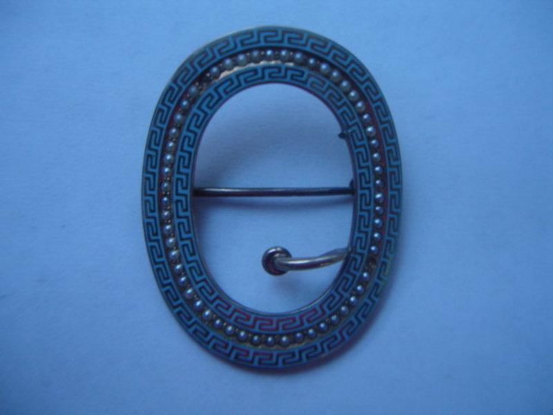 Egyptian Revival Micro Pearl Enamel 14K Brooch