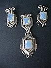 Margot de Taxco Sterling Silver Brooch + Earrings