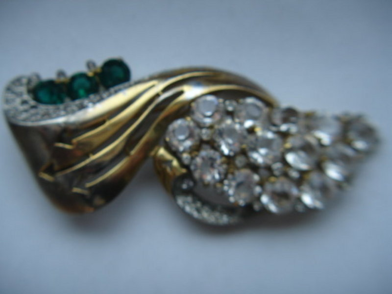 McClelland Barclay Art Deco Rhinestone Fur Clip