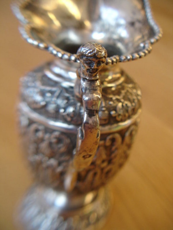Ornate Dutch Sterling Silver Repousse Pitcher