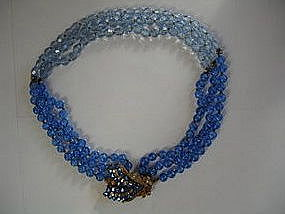 Miriam Haskell Blue Art Glass/Rhinestone Necklace
