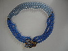 Miriam Haskell Blue Art Glass/Rhinestone Necklace