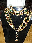 Fabulous CHANEL Red/Green Gripoix Poured Glass Belt