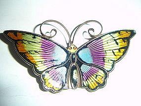 Large David Andersen Norway Sterling Enamel Butterfly