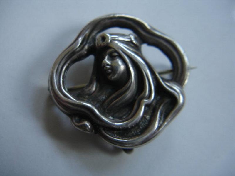 Unger Bros Sterling Silver Art Nouveau Watch Pin Brooch
