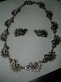 TAXCO Mexican Sterling 980 Silver Necklace Set