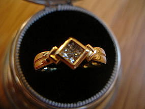 Fine 18K Gold Princess Cut Diamond Ring 4.2 grams