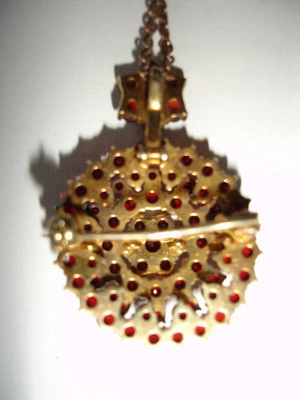 Bohemian Garnet Brooch / Pendant with Gold Chain