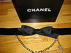 Fun CHANEL Leather Chain Logo Belt with Bow
