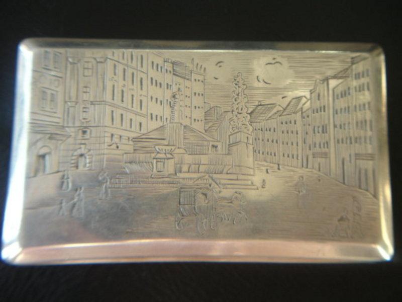 Austrian  Sterling Silver Cigarette Case Vienna Scene
