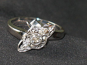 Antique 14K  White Gold European Diamond Ring