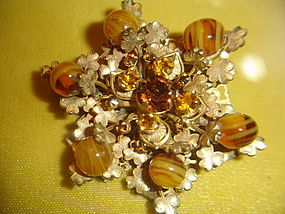 Miriam Haskell Art Glass  & Rhinestone Brooch