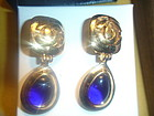 CHANEL Blue Gripoix Poured Glass CC Logo Earrings