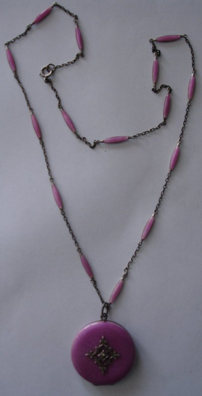 Pink Guilloche Enamel Sterling Silver Locket & Chain
