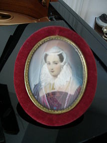Lovely Miniature Portrait on Ivory Royal Woman w/Jewels