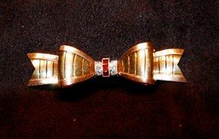 Estate Art Deco Retro 14K Bold Pin Rubies & Diamonds