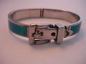 Fallaci Italy Sterling Silver Enamel Buckle Bracelet