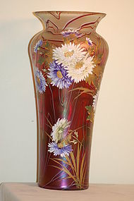 Loetz Large HP Iridescent Threaded Vase C:1900