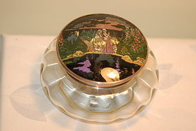 English Glass & Sterling box HP Alphonso Mucha type