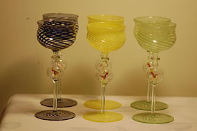 Bimini Werkstette Glass 6 stems with roosters C:1930