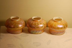 Quezal Favrile art glass Shades set of three C:1910
