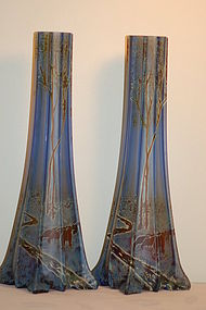 Beyermann Haida glass vases pair C:1910