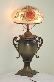Handel Lamps early chipped-ice artist-signed C:1900