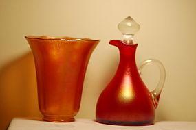 Imperial glass Aurene Favrile shade & Ewer C:1900