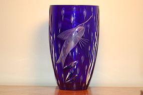 Waterford glass vase ocean-themed C:1960