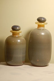 2 Vera Walther German Art Glass Bottles Signed