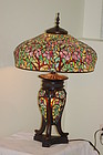 Tiffany style large glass & metal lamp