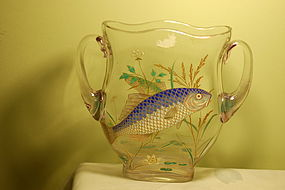 Moser Bohemian Alexandrite glass sea theme fish vase C:1920