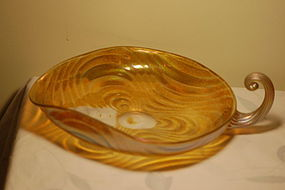 Loetz Oceanik iridescent large tray with scalloped handle C:1900
