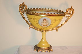French Opaline glass hand painted portrait vase on stand C: 1890